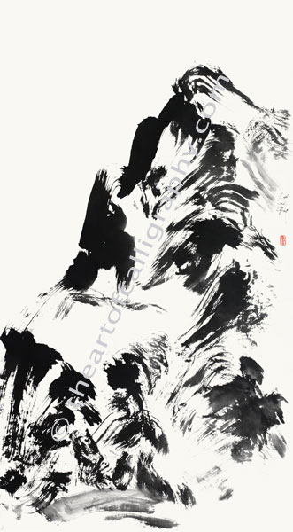 Abstract Mountain Painting In Zen Style