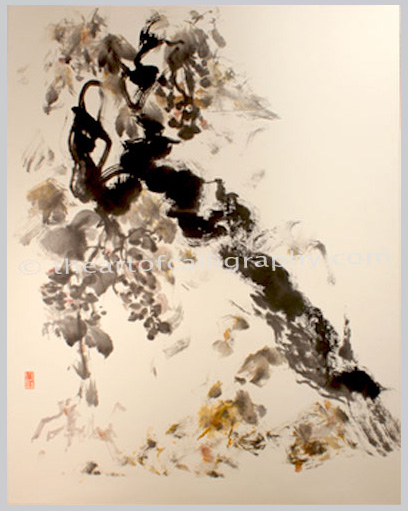 Grapevine Painting On Hanging Scroll For Sale