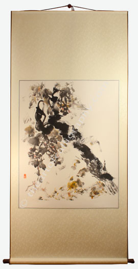 Grapevine Painting On Hanging Scroll - Grapevine Painting For Sale