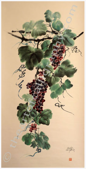 Grapes Painting Detail Of Grapes Watercolor Painting On Hanging Scroll