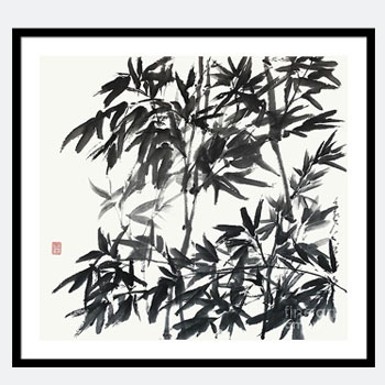 A Cooling Bamboo Grove Zen Sumi-e