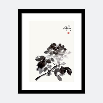 A Rose That Blooms Sumi Painting Framed Print.