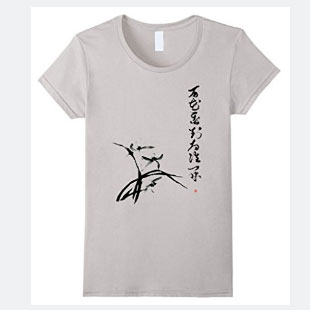 Orchid Flower T-shirt, Zen T-shirt With Japanese Zen Koan Calligraphy