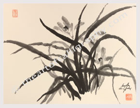 Orchid Ink Painting, Contemporary Zen Sumi-e for Sale