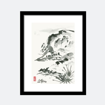 Seascape In Zen Style Framed Print