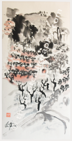 Ancestral vineyards, almond and olive trees brushed with sumi and watercolors on rice paper. Original Sumi-e Ink Painting For Sale