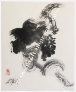 Grapevine Ink Painting Sumi-e In Zen Style Painting