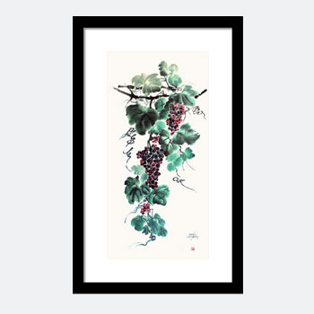 Abundant Grapes. Japanese Watercolor Painting. Buy This Japanese Watercolor Print.