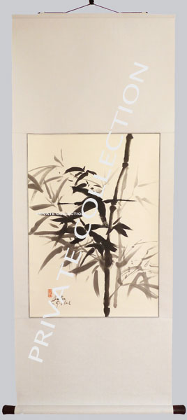 Bamboo Ink Painting On Hanging Scroll - Bamboo Painting