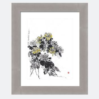 Chrysanthemums Are Lovely In Autumn. Modern Chrysanthemum Watercolor Print.