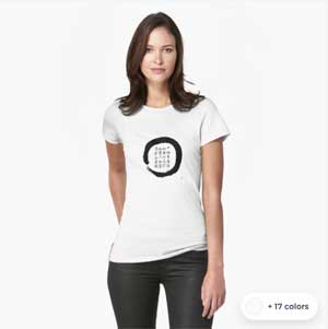 Zen Enso T-shirt With Japanese Verse Of Diamond Sutra