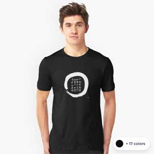 Enso T-shirt With Original Zen Diamond Sutra Calligraphy