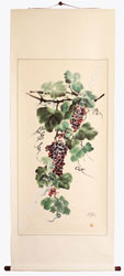 Wine Painting On Hanging Scroll - Grapes In Abundance