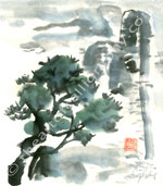 Ever Green Pine In Misty Landscape- Sumi-e Print