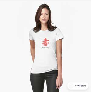 Japanese, Chinese Character for Longevity Happiness, Longevity Kanji Calligraphy T-Shirt