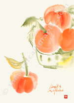 Brush Painting- Glowing Mandarines - Chinese Watercolors Print
