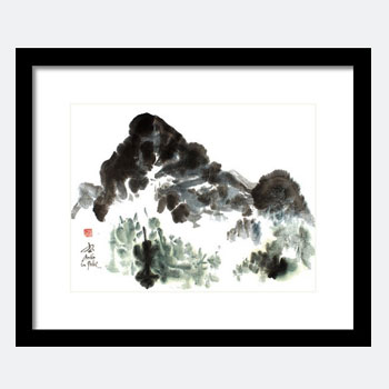 Mountain Painting - Chinese Watercolors - Framed Print