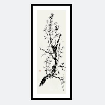 Sumi-E Print - New Life, the Mystery of Spring in an Almond Blossom Branch