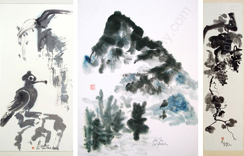 Sumi, Japanese Brush Painting,Modern Watercolor Painting,Mountain Paintings