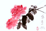 Pink Roses In Japanese Watercolors Style - Print