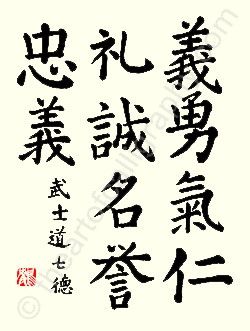 Seven Virtues Of Bushido Japanese Calligraphy In Standard Script