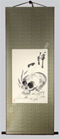 Zen Skull Painting Scroll